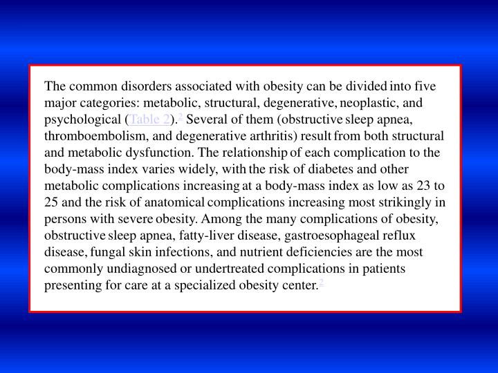 The common disorders associated with obesity can be divided