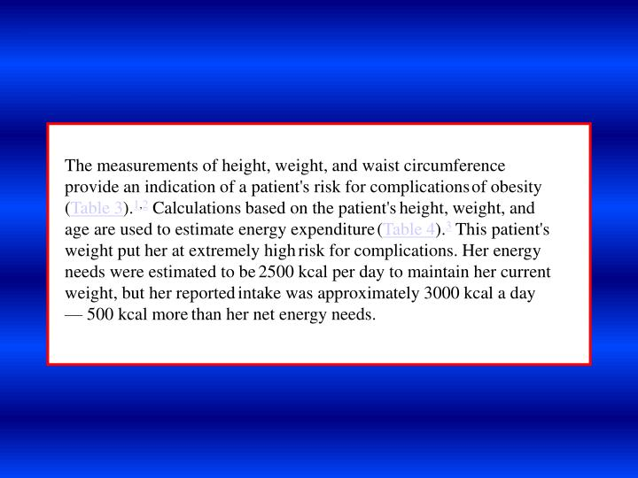 The measurements of height, weight, and waist circumference