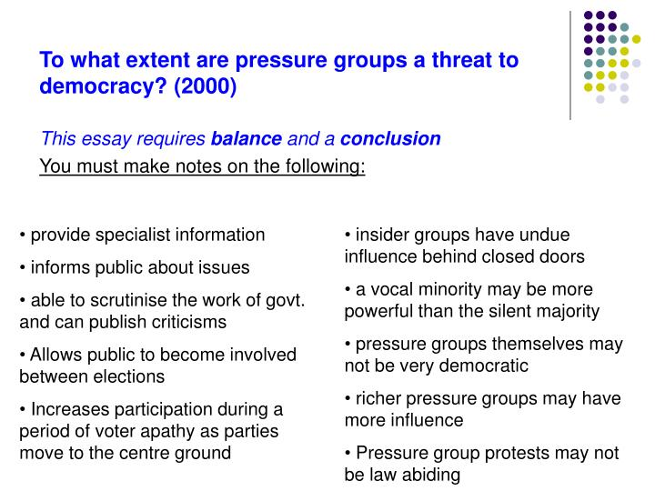 To what extent are pressure groups a threat to democracy? (2000)