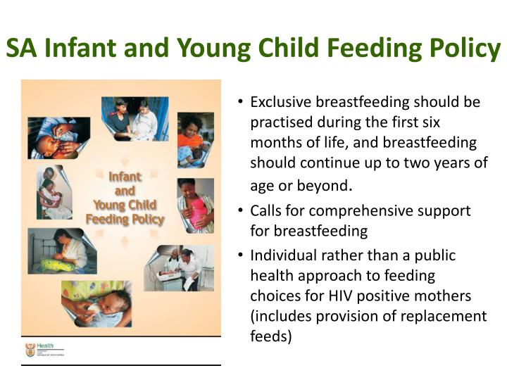 Sa infant and young child feeding policy