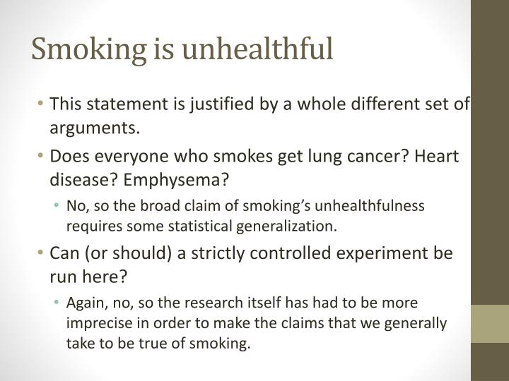 Smoking is unhealthful
