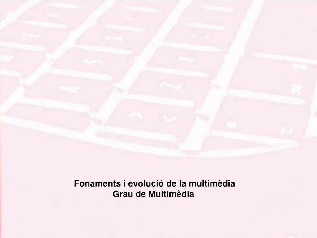 Fonaments i evolució de la multimèdia