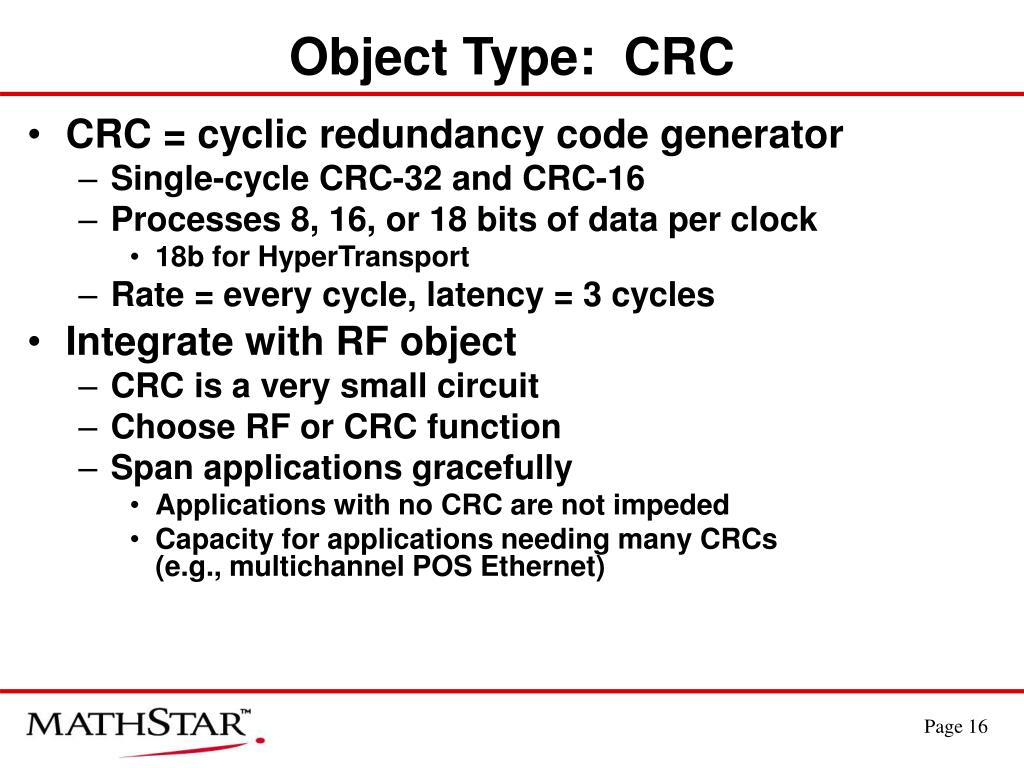 Object Type:  CRC