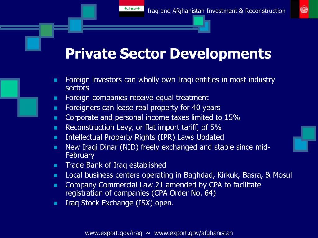 Private Sector Developments