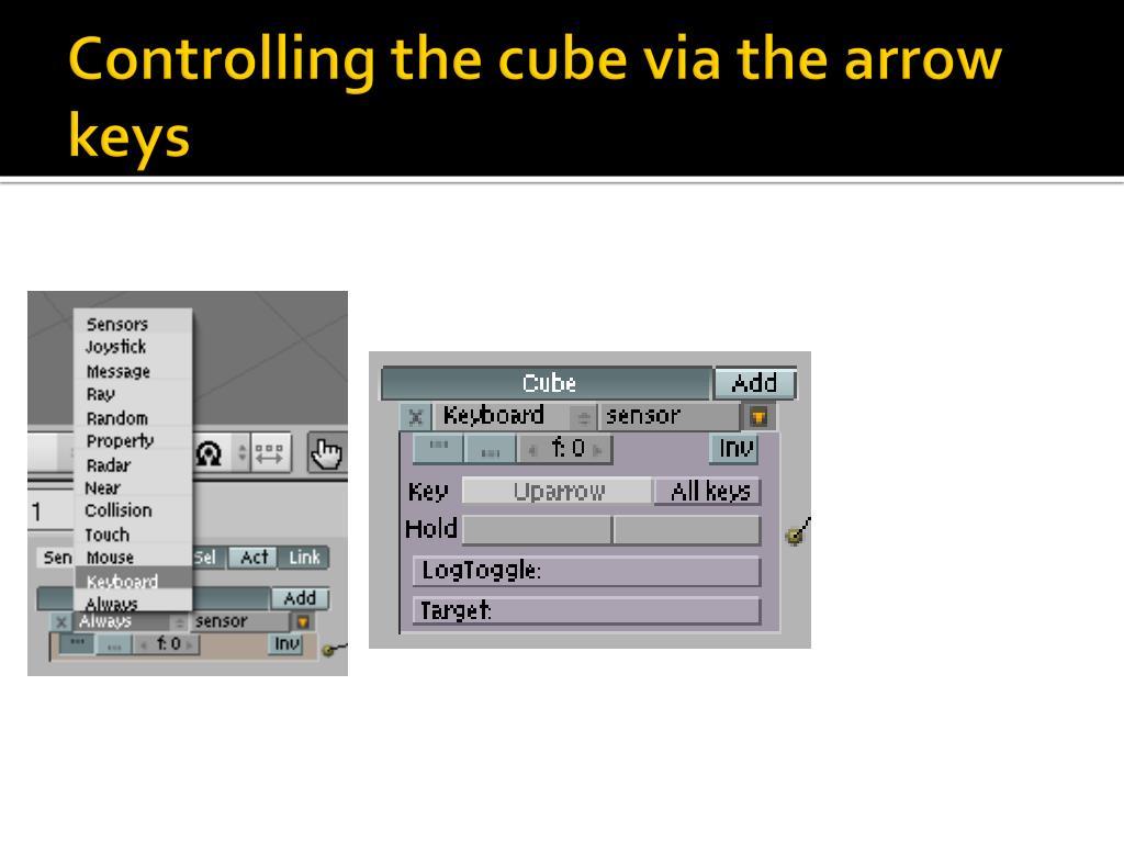 Controlling the cube via the arrow keys