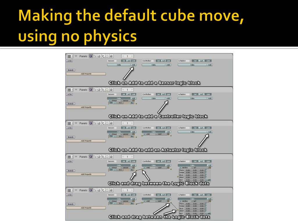 Making the default cube move, using no physics