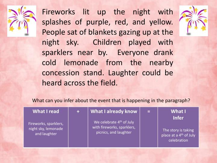 Fireworks lit up the night with splashes of purple, red, and yellow.  People sat of blankets gazing up at the night sky.  Children played with sparklers near by.  Everyone drank cold lemonade from the nearby concession stand. Laughter could be heard across the field.