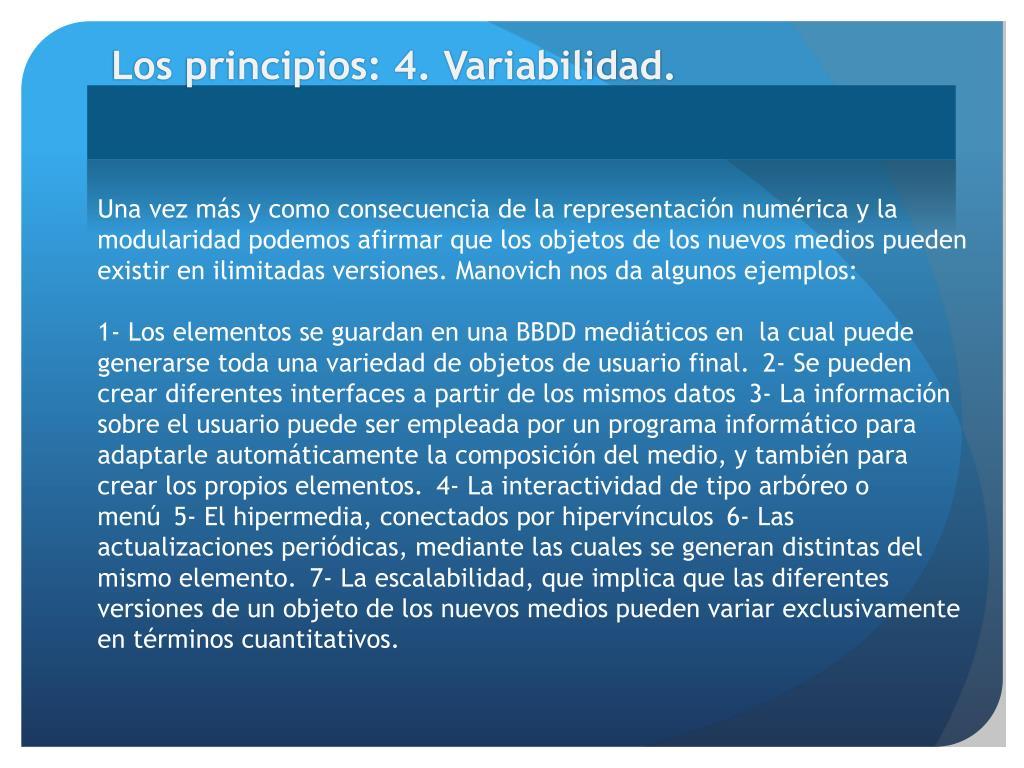 Los principios: 4. Variabilidad.