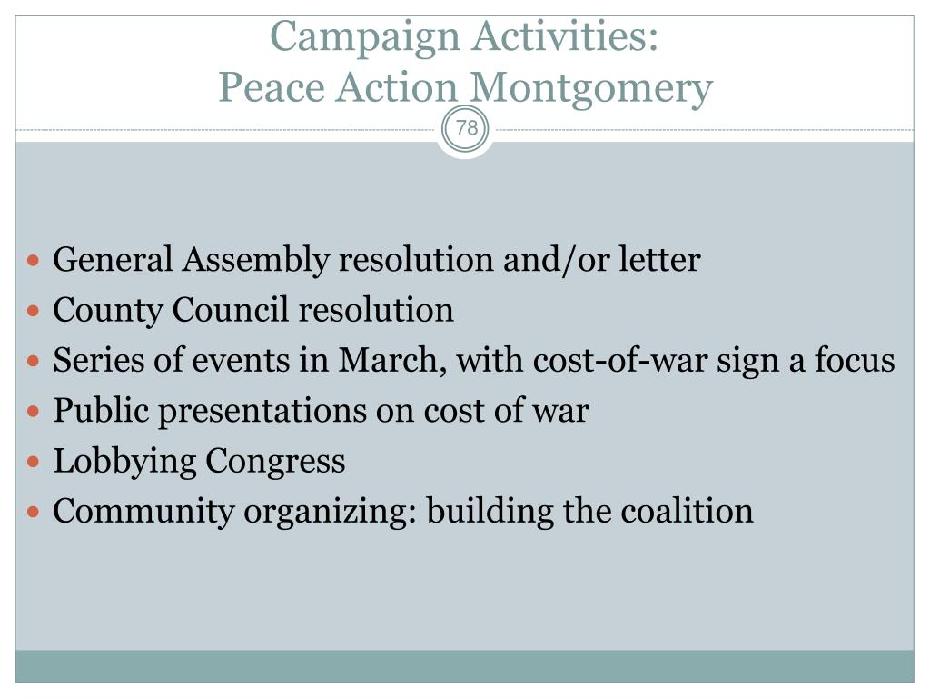 Campaign Activities: