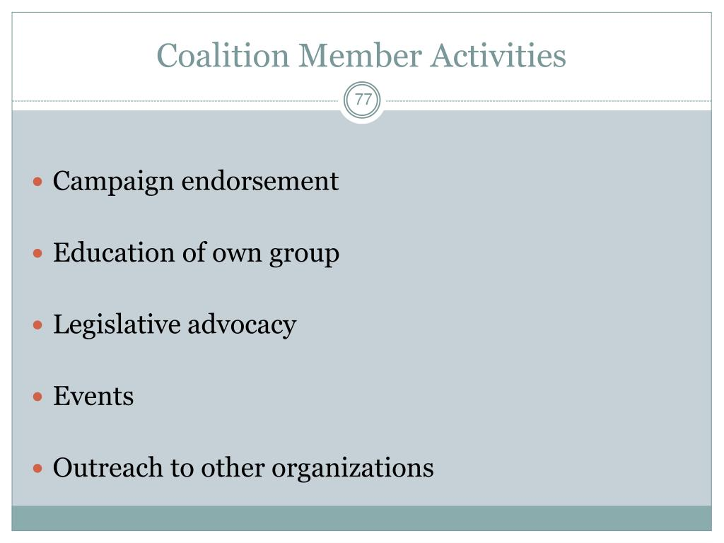 Coalition Member Activities