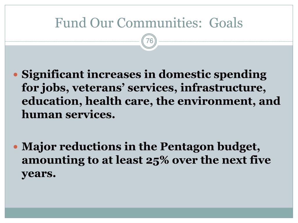 Fund Our Communities:  Goals