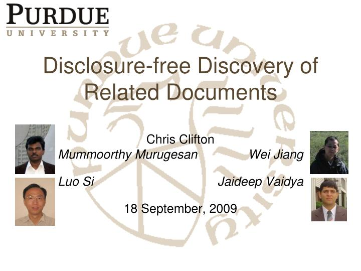 Disclosure free discovery of related documents
