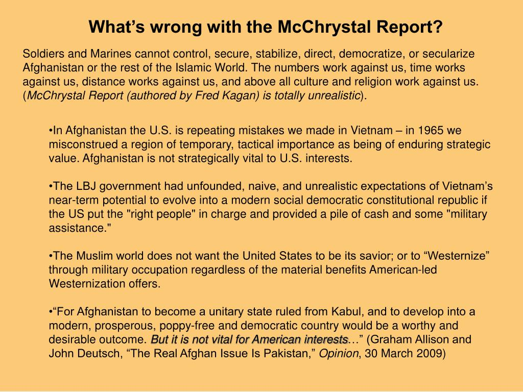 What's wrong with the McChrystal Report?
