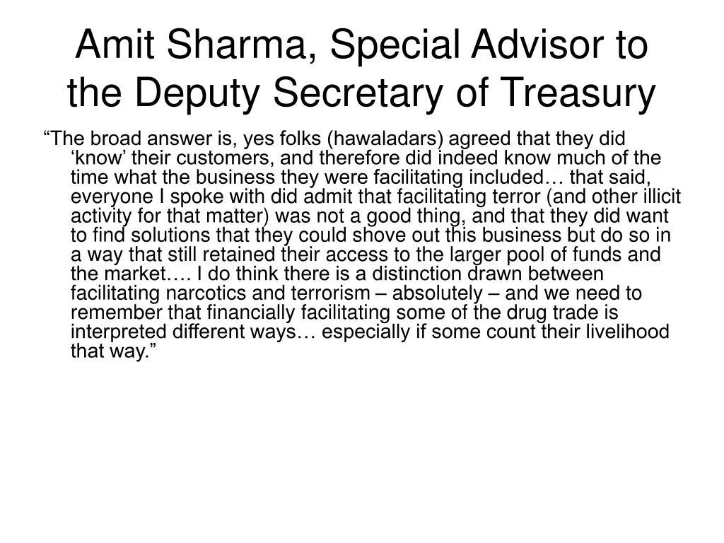 Amit Sharma, Special Advisor to the Deputy Secretary of Treasury