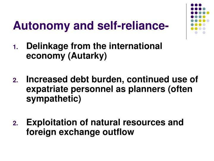 Autonomy and self-reliance-