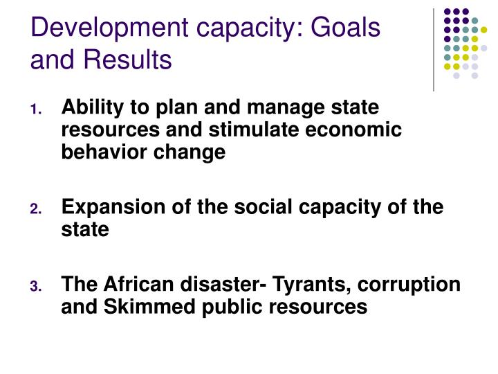 Development capacity: Goals and Results