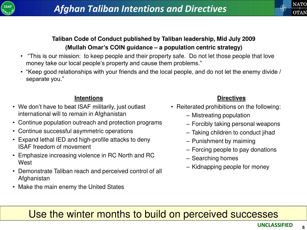 Afghan Taliban Intentions and Directives
