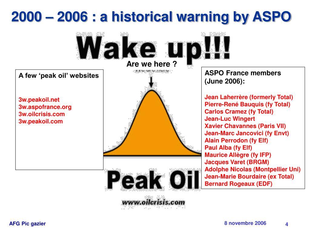 2000 – 2006 : a historical warning by ASPO