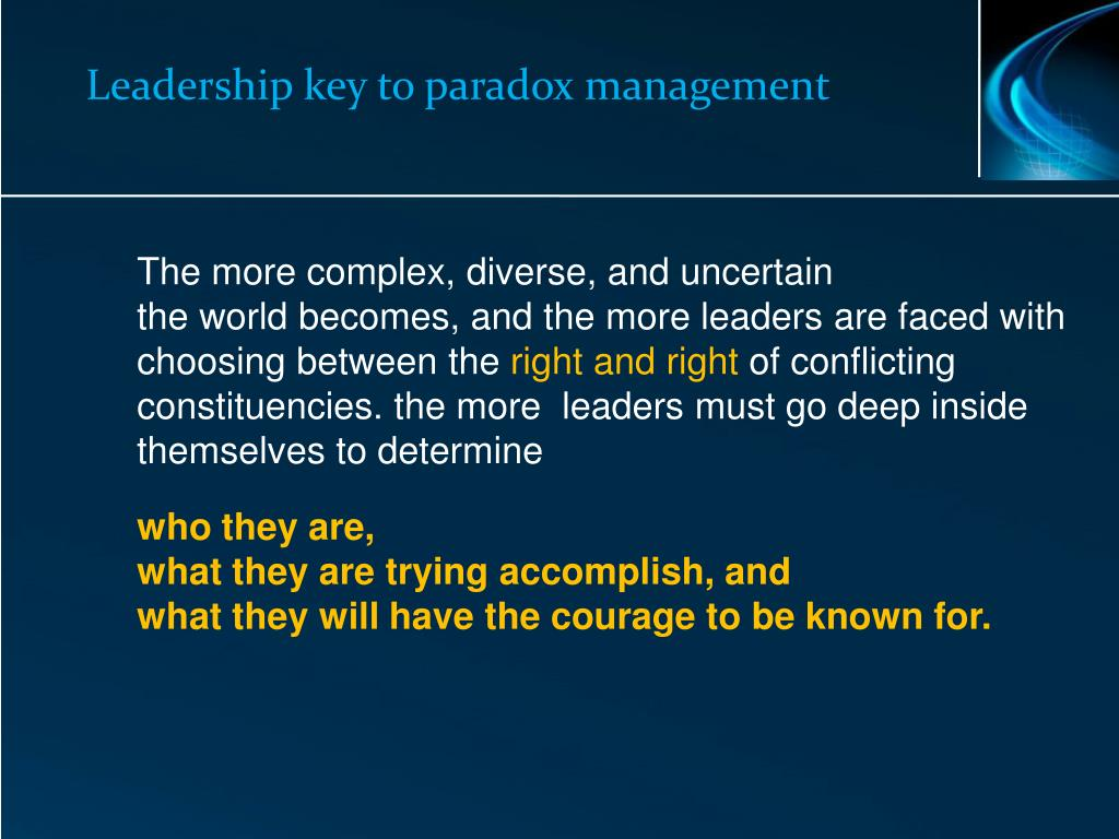 Leadership key to paradox management