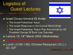 logistics of guest lectures