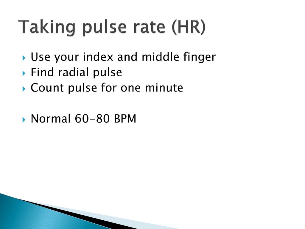 Taking pulse rate (HR)