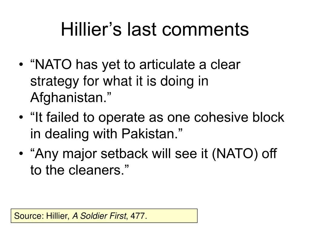 Hillier's last comments