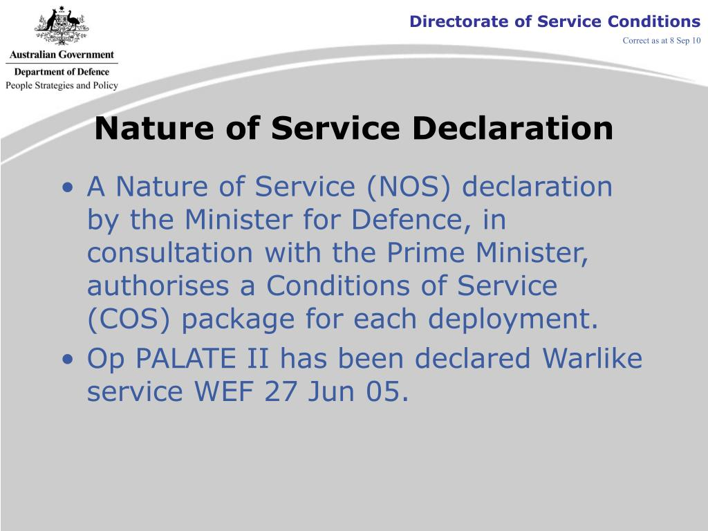 Nature of Service Declaration