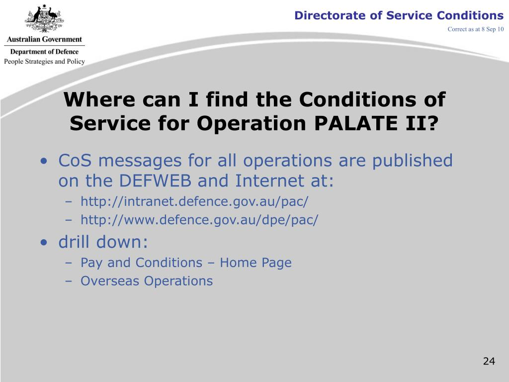 Where can I find the Conditions of Service for Operation PALATE II?