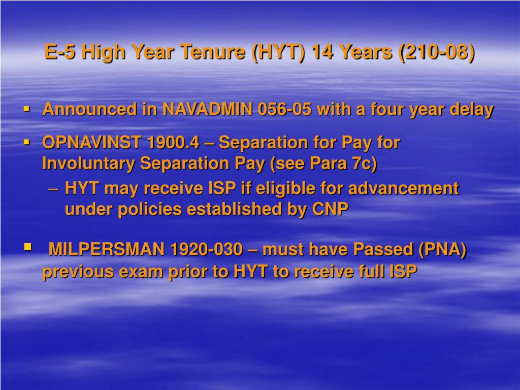 E-5 High Year Tenure (HYT) 14 Years (210-08)