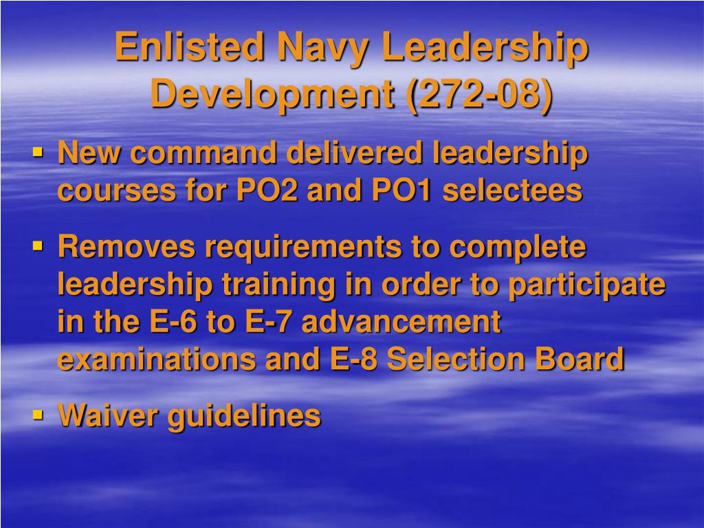 Enlisted Navy Leadership Development (272-08)
