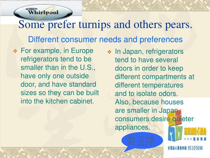 For example, in Europe refrigerators tend to be smaller than in the U.S., have only one outside door, and have standard sizes so they can be built into the kitchen cabinet.