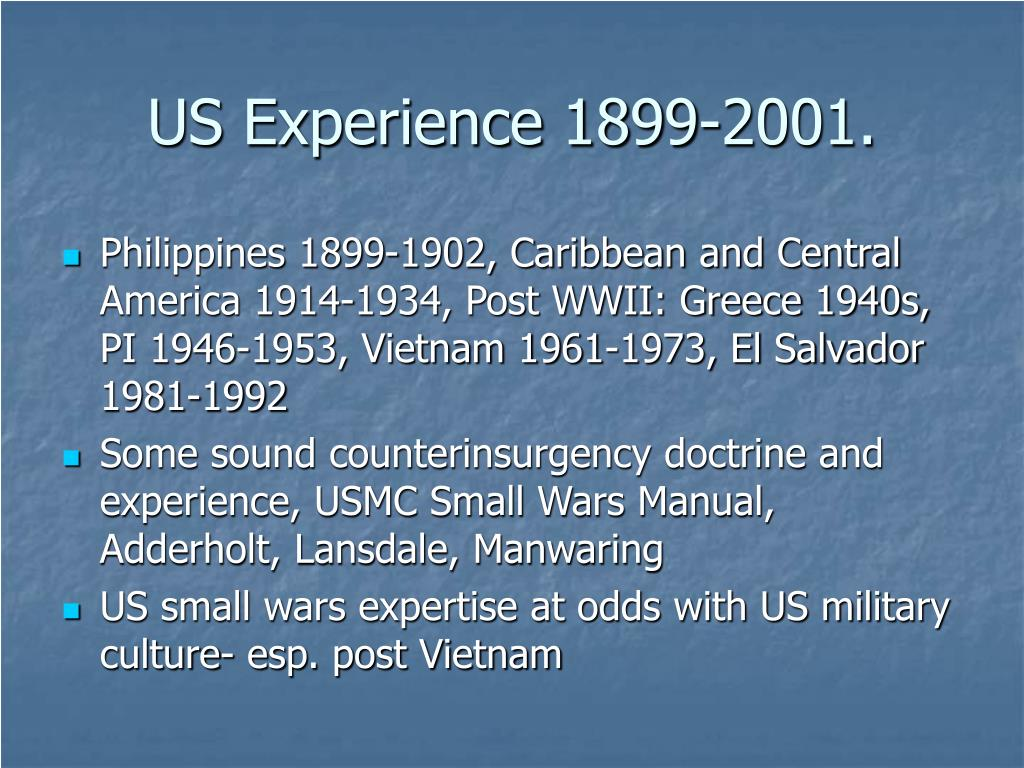 US Experience 1899-2001.