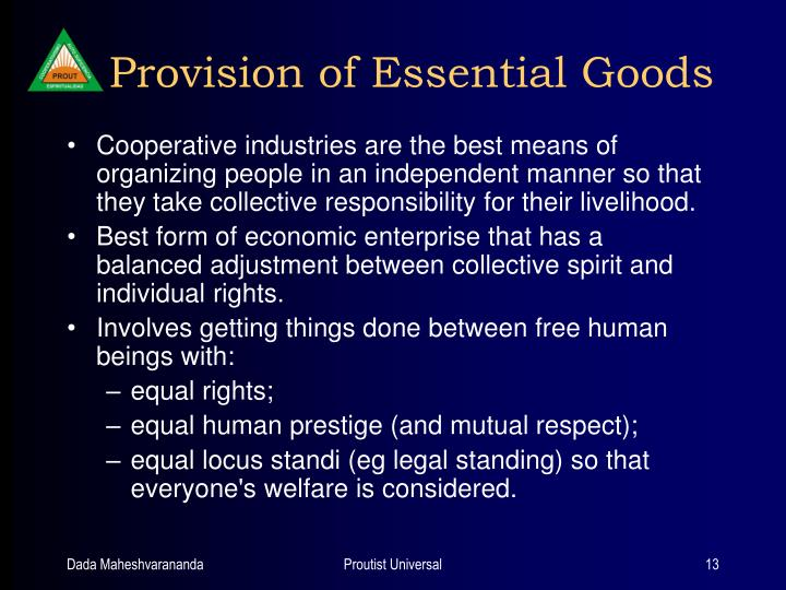 Provision of Essential Goods