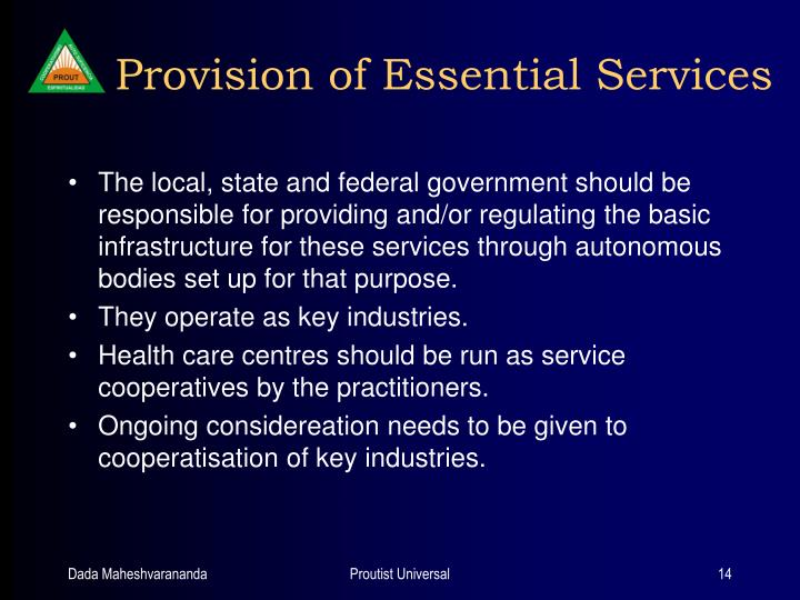Provision of Essential Services