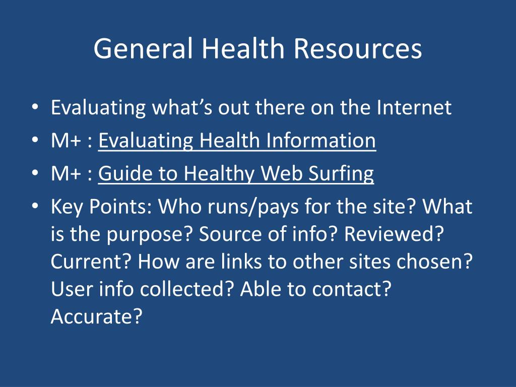 General Health Resources