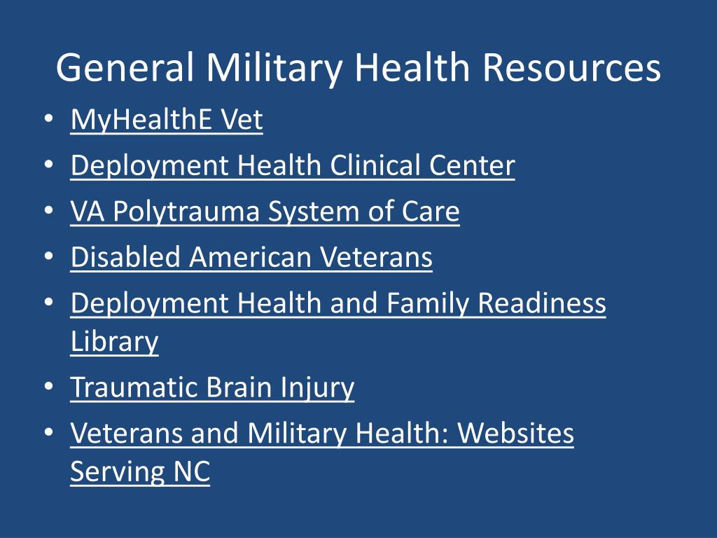 General Military Health Resources