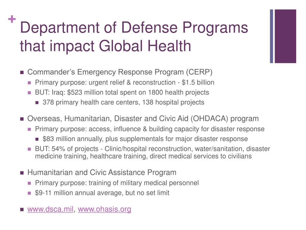Department of Defense Programs that impact Global Health