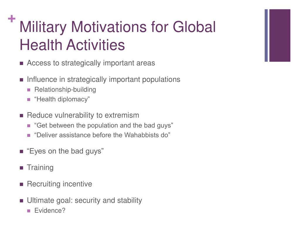 Military Motivations for Global Health Activities