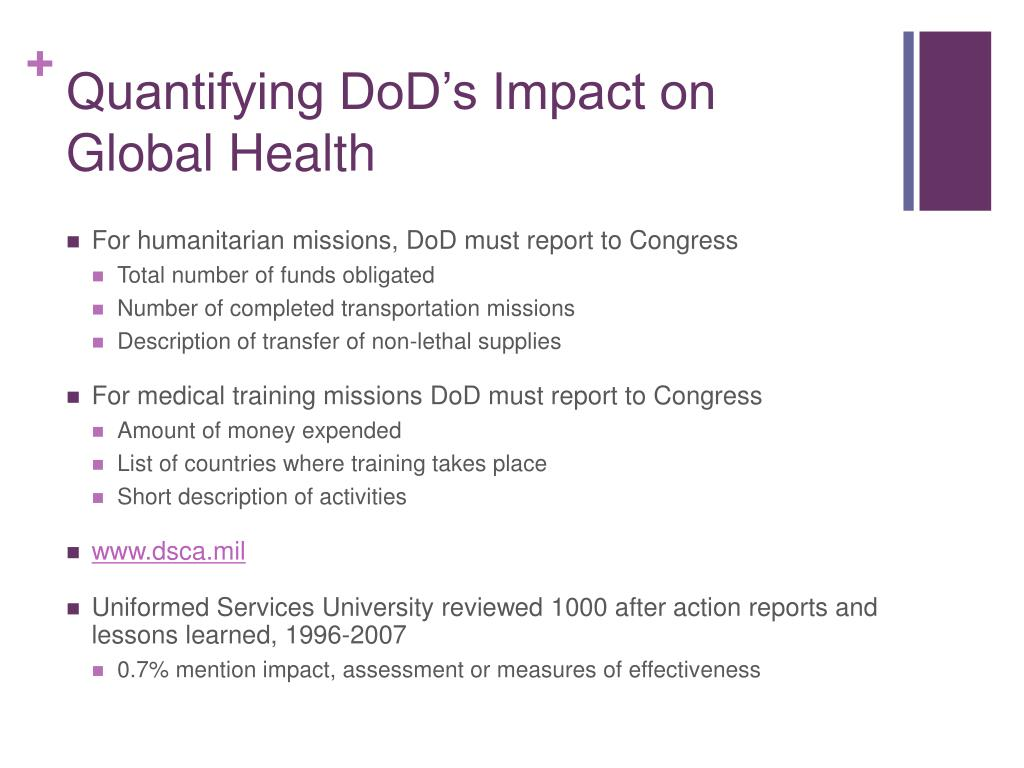 Quantifying DoD's Impact on Global Health