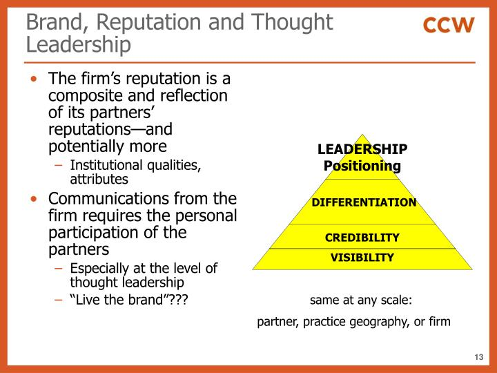 Brand, Reputation and Thought Leadership