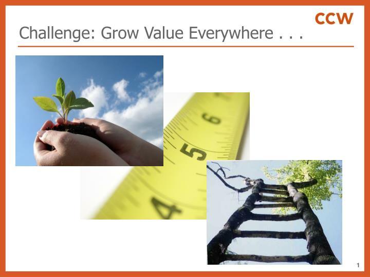 Challenge: Grow Value Everywhere . . .