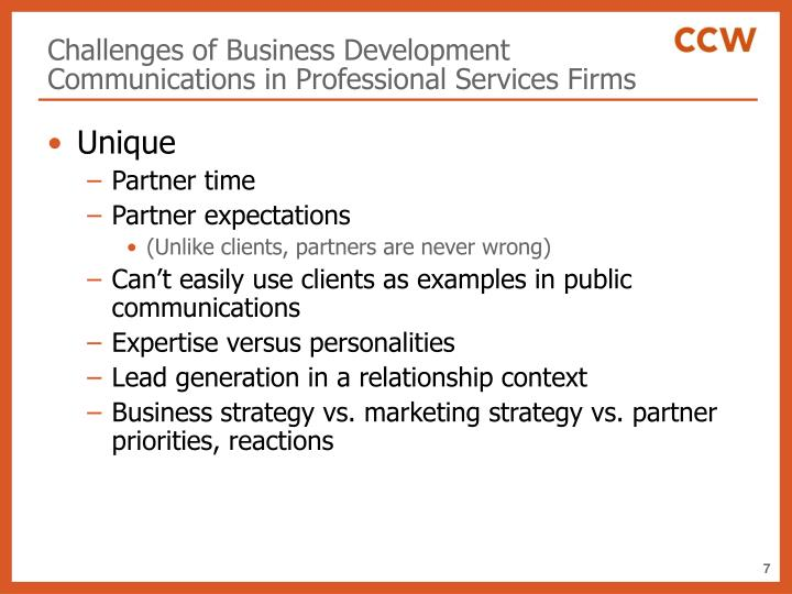 Challenges of Business Development Communications in Professional Services Firms
