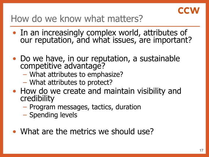 How do we know what matters?