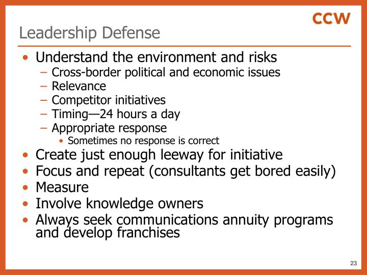 Leadership Defense