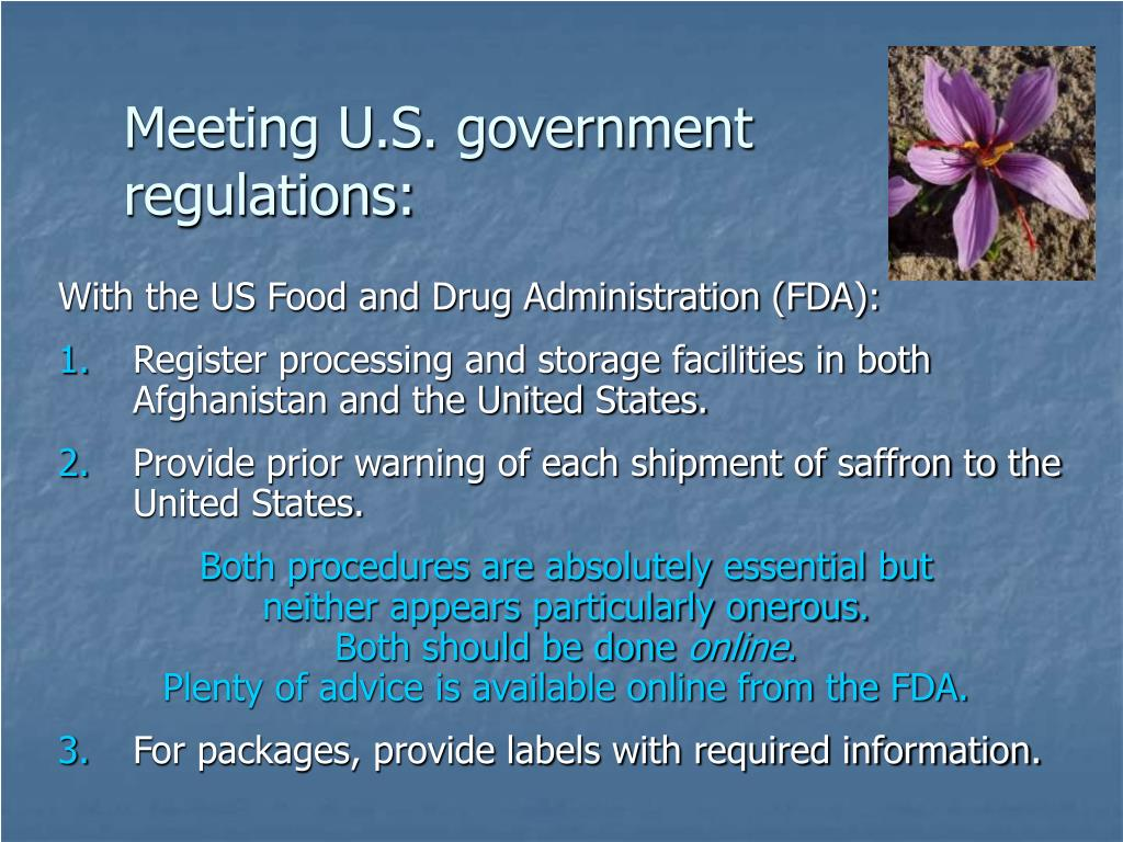 Meeting U.S. government regulations: