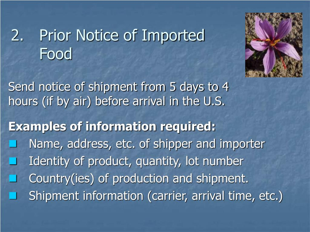 Prior Notice of Imported Food