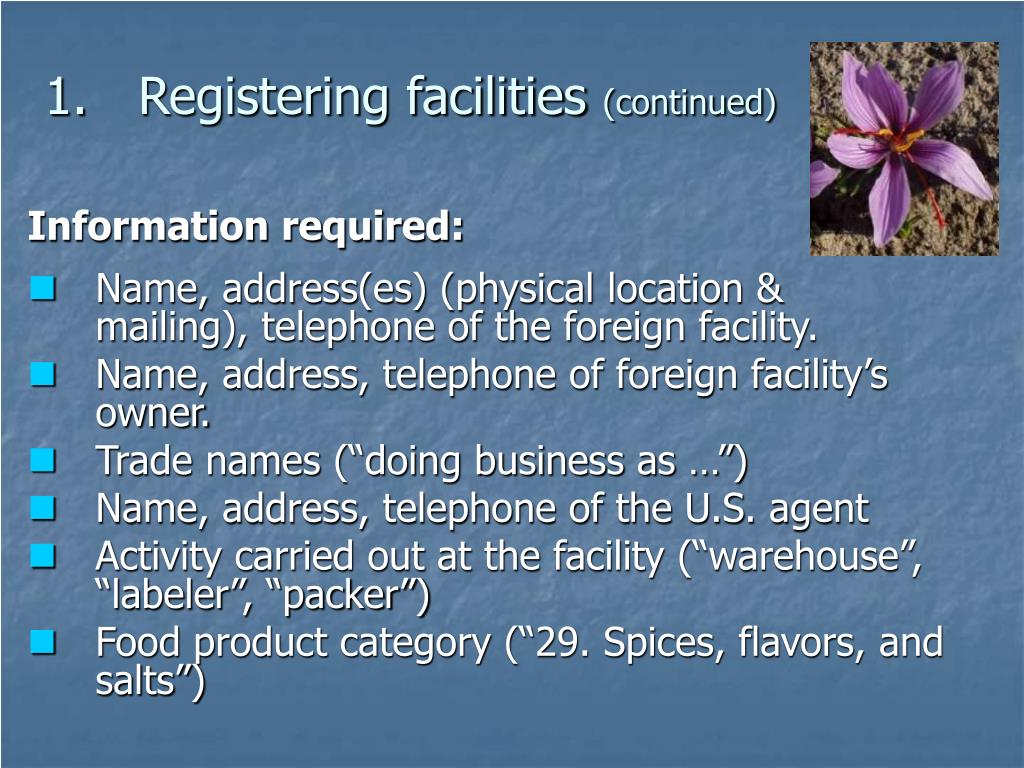 Registering facilities
