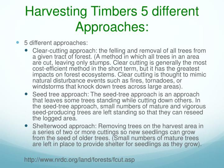 Harvesting Timbers 5 different Approaches: