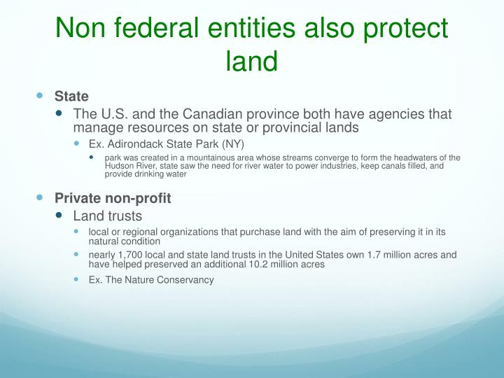 Non federal entities also protect land