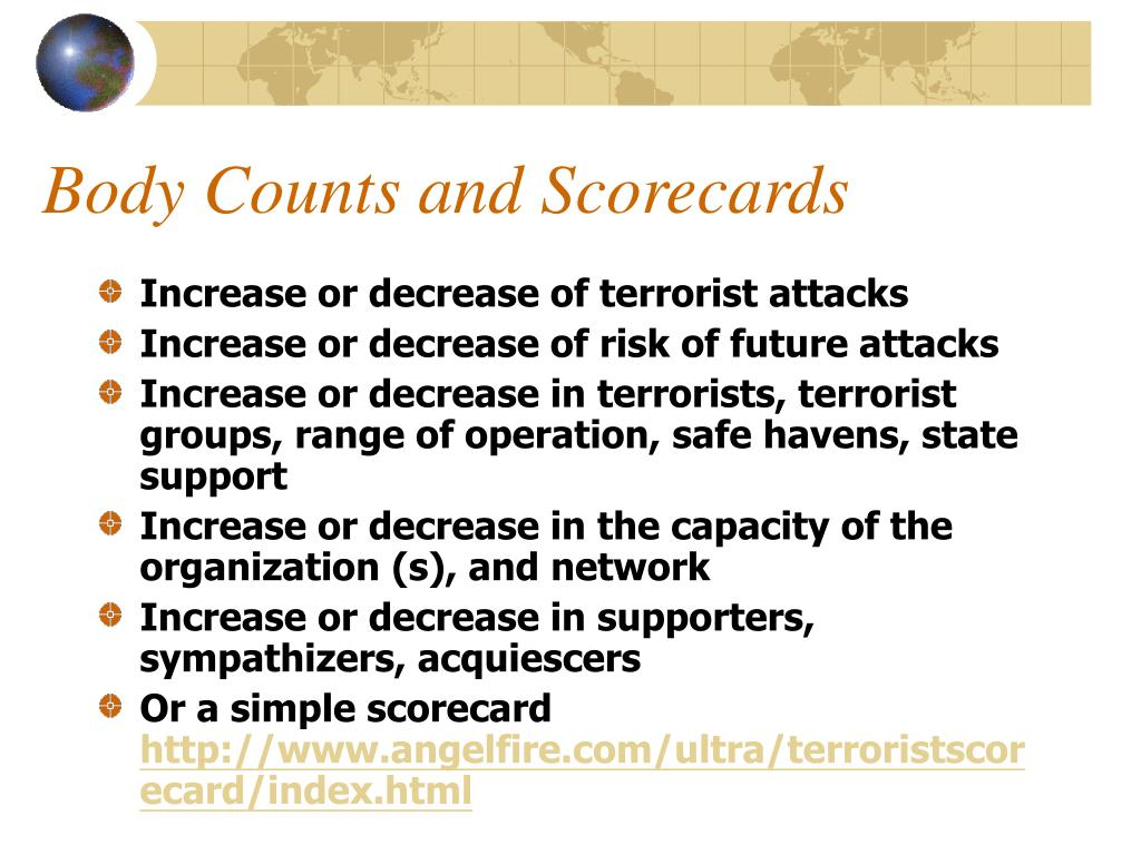 Body Counts and Scorecards